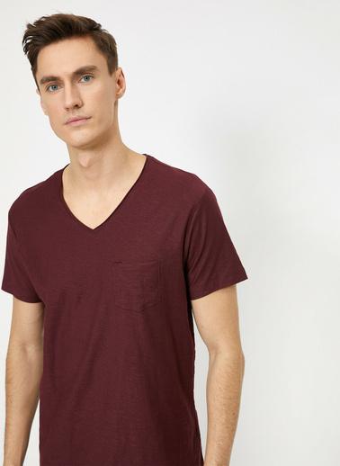 Koton V Yaka Cebi Flamli Slim Fit Basic T-Shirt Bordo